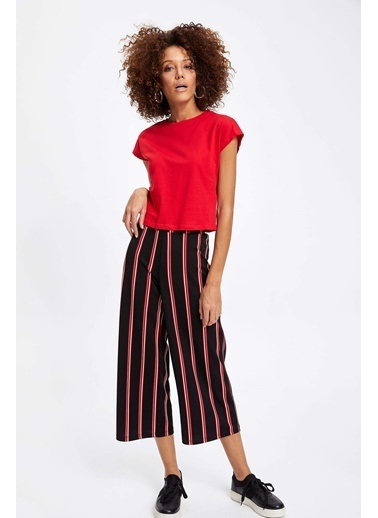 DeFacto Çizgili Culotte Pantolon Kırmızı
